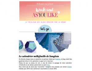 As You Like & Hellocoton newsletter / 2016-01-02 : Le calendrier millefeuille de Sanglota