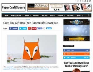 Paper Craft Square / 2016-01-18 : Cute Fox Gift Box Free Papercraft Download