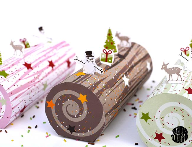 Yule Log paper craft #DIY free #printable