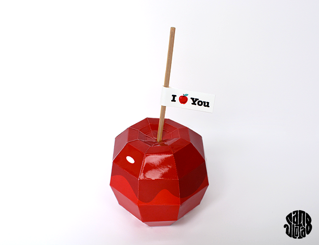 Toffee Apple paper craft - St Valentin #DIY free #printable