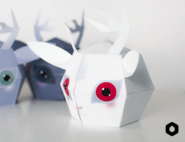 Stackable Jackalopes paper toys / paper crafts - #DIY + free #printable