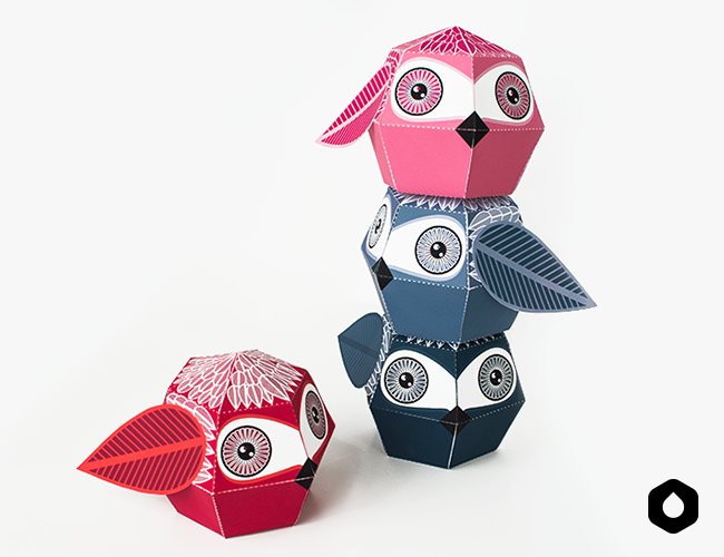 Stackable Owls paper toys / paper crafts - #DIY + free #printable