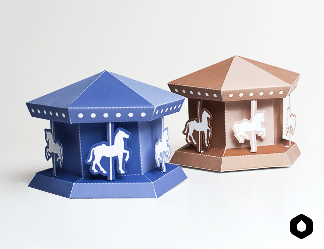 Carrousel paper toy (free printable)