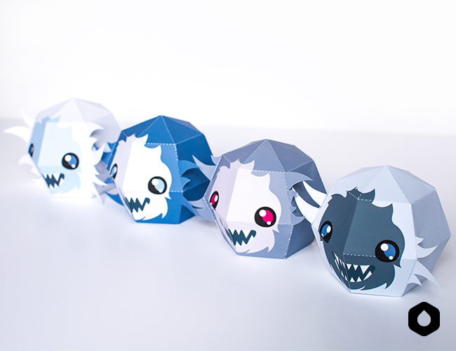 Stackable Yetis paper toys / paper crafts - #DIY + free #printable