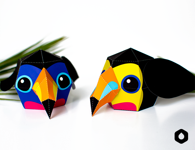 Stackable Toucans paper toys / paper crafts - DIY + free printable