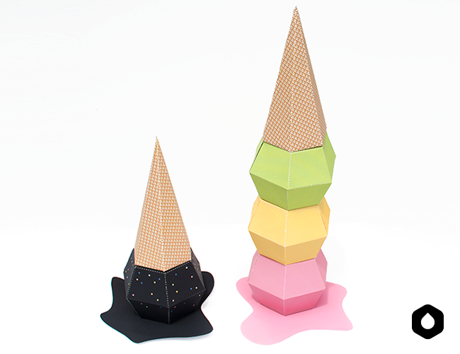 Stackable Ice creams paper toys / paper crafts - #DIY + free #printable
