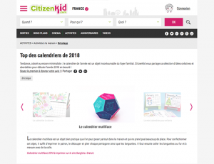citizenkid.com / 2017-12 : Top des calendriers de 2018